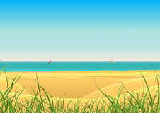 Sommer-Strand mit Segelboot-Postkarte-Hintergrund Lizenzfreie Stockfotos