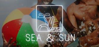Sommer-Strand-Seeküsten-Grafik-Konzept lizenzfreie stockfotografie