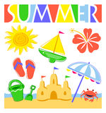 Sommer-Strand-Set lizenzfreie abbildung
