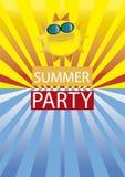 Sommer-Strandfest Grußvektor lokalisiert auf schwarzem Hintergrund Stockfotos