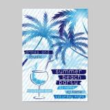 Sommer-Strandfestschablone mit Cocktail- und Palmen vektor abbildung