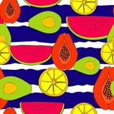 Sommer streifte vibrierendes Frucht-Muster-nahtlosen Wiederholungs-Muster-Vektor vektor abbildung