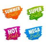 Sommer-, Super-, heiße und Mega-Verkaufs-Vektor-Kennzeichen vektor abbildung