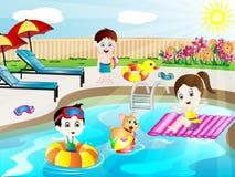 Sommer-Swimmingpool-Spaß-Vektor-Illustration Lizenzfreie Stockbilder