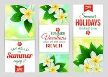 Sommer typografische Fahnen mit tropischem glänzend Stockfotografie