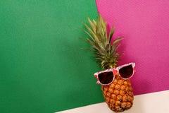 Sommer- und Feiertagskonzept Hippie-Ananas-Mode-Accessoires Lizenzfreie Stockbilder