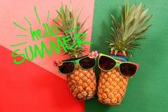 Sommer- und Feiertagskonzept Hippie-Ananas-Mode-Accessoires Lizenzfreie Stockfotos