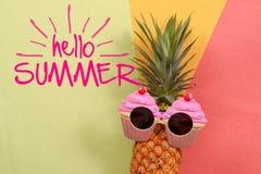 Sommer- und Feiertagskonzept Hippie-Ananas-Mode-Accessoires Stockfoto