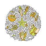 Sommer- und Ikonenkonzept des Strandhandabgehobenen betrages Reisesommer-Ikonensammlung in der runden Form mit dekorativen Elemen Lizenzfreies Stockfoto