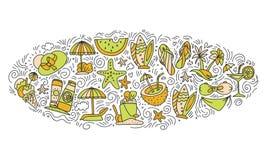 Sommer- und Ikonenkonzept des Strandhandabgehobenen betrages Reisesommer-Ikonensammlung in ellipce Form mit dekorativen Elementen Lizenzfreie Stockfotos