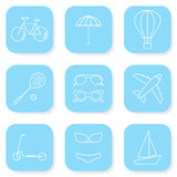 Sommer-und Reise-Ikonen eingestellt lizenzfreie abbildung