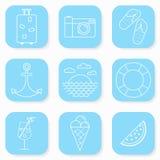 Sommer-und Reise-Ikonen eingestellt Stockbild
