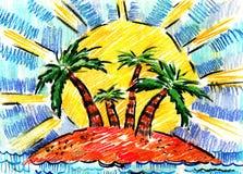 Sommer und Rest und Meer und Palme und Bäume Stockfotografie