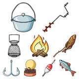 Sommer- und Winterfischen, Erholung im Freien, Fischen, Fisch Fischenikone in der Satzsammlung auf Karikaturartvektor lizenzfreie abbildung