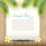 Sommer-Vektor-Hintergrund mit Papier unter Palme tre Stockfotografie