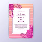 Sommer Vibe-Hochzeits-Einladungs-Design mit Bürsten-Hintergrund Stockfoto