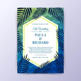 Sommer Vibe-Hochzeits-Einladungs-Design mit Chevron-Hintergrund Lizenzfreies Stockbild