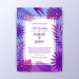 Sommer Vibe-Hochzeits-Einladungs-Design mit Stammes- Hintergrund Stockfotos