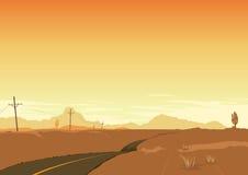 Sommer-Wüsten-Landschaftsplakat-Hintergrund Lizenzfreies Stockbild