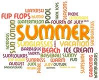 Sommer-Wort-Wolke Stockfotografie