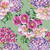 Sommerblume, Blumenstrauß, Aquarell, kopieren nahtloses Stockfotografie