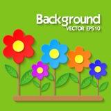 Sommerblumenhintergrund mit Papierblumen Lizenzfreie Abbildung