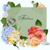 Sommerblumenstrauß auf grünem Hintergrund, Postkarte Lizenzfreie Stockbilder