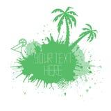 Sommerfahne mit Aquarell spritzt Palmen Stockfoto