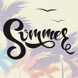 Sommerfahne mit Palmen und Beschriftung Sommer! Lizenzfreie Stockbilder