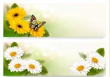 Sommerfahnen mit bunten Blumen und Schmetterling Stockfoto