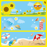 Sommerfahnenset Lizenzfreies Stockfoto
