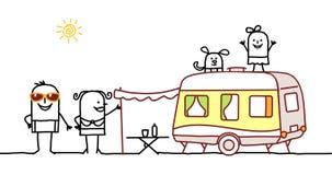 Sommerfamilie u. kampierendes Auto vektor abbildung