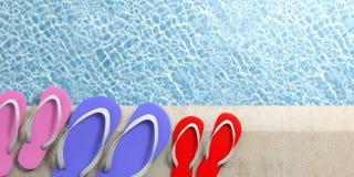 Sommerfamilienurlaub Flipflops durch das Pool, Draufsicht, Kopienraum Abbildung 3D Lizenzfreie Stockbilder