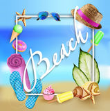 Sommerferien in der Strand-Küste Auch im corel abgehobenen Betrag Lizenzfreie Stockbilder