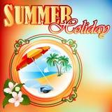 Sommerferien-Designschablone; Exotische Landschaft im Medaillon Lizenzfreies Stockfoto