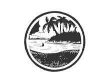 Sommerferien, Embleminsel mit Meer, Sonnenaufgang, Palme und Welle für Reise oder Freizeitdesign Stockbilder