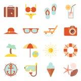 Sommerferien-Farbstrandurlaubsort statten Design-Schablonenillustration der Vektorsymbolikone flache aus Stockfotografie