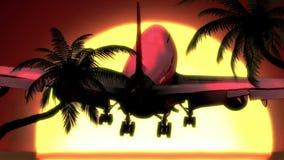 Sommerferien, Flugzeugländer bei Sonnenuntergang vektor abbildung
