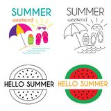 Sommerferien-Plakatsammlung lizenzfreie abbildung