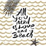 Sommerferien und gezeichnete Illustration der Ferien Hand Lizenzfreies Stockfoto