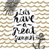 Sommerferien und gezeichnete Illustration der Ferien Hand Lizenzfreie Stockfotografie