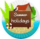 Sommerferien und -haus auf dem Strand