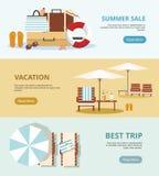 Sommerferien und -tourismus Stellen Sie drei Netzfahnen ein Konzept von Sommerferien stock abbildung