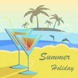 Sommerferien-Vektorillustration eingestellt mit Stockfotografie