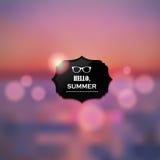Sommerferien-Zusammenfassungshintergrund Sonnenuntergang auf der Seestrandillustration Lizenzfreies Stockbild