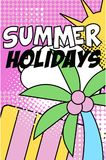 Sommerferienfahne, helles Retro- Pop-Arten-Artplakat mit Sommernaturflorenelementen vector Illustration vektor abbildung
