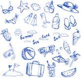 Sommerferiengekritzelikone und -freizeit tragen Einzelteil und Marineani zur Schau Stockbilder