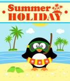 Sommerferienhintergrund mit Pinguin Lizenzfreie Stockfotos