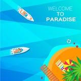 Sommerferienhintergrund Willkommen zum Paradies Lizenzfreies Stockbild