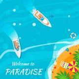 Sommerferienhintergrund Willkommen zum Paradies Lizenzfreie Stockfotos